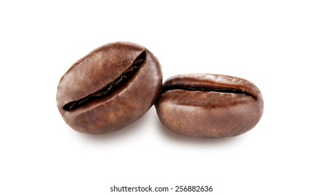 two isolated coffee beans