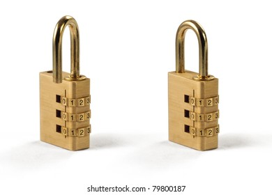 Two Isolated Combination Lock, Unlocked and Locked