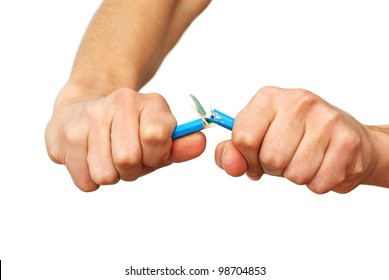 two isolated hands breaking blue pencil over white background