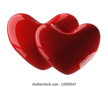 Two isolated heart on a white background. 3D image.