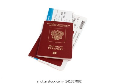 Two isolated Russian passports with boarding passes with clipping path