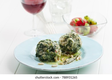 two italian strangolapreti spinach dumplings