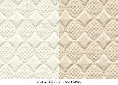 two ivory color jacquard woven fabric textures with diamond pattern for background.