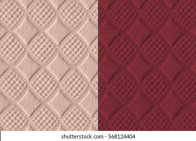 two ivory and red color jacquard woven fabric textures with diamond pattern for background.