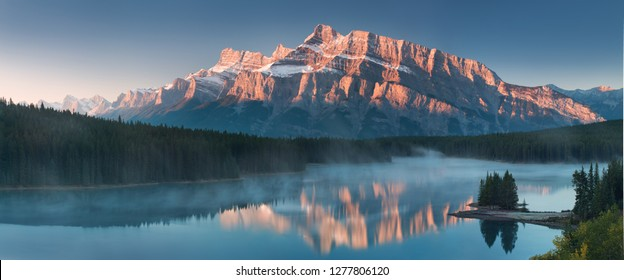 Two Jack Lake and Lake Minnewanka is a glacial lakes located in the eastern area of Banff National Park in Canada, about five kilometres northeast of the Banff townsite.