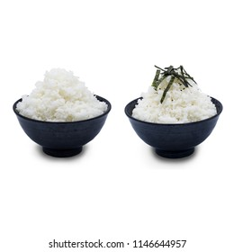 Two of japanese sushi rice in the black bowl and top dry seaweed, isolate on white background