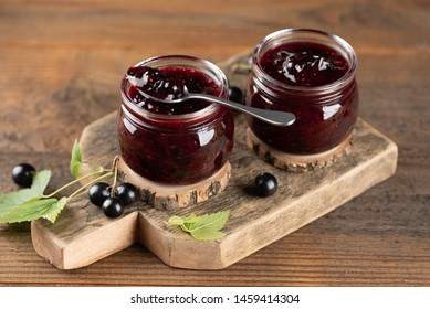 Two jars with black currant jam