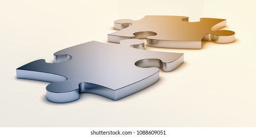 two jigsaw pieces connecting together, white background, concept of solution or team work (3d render)