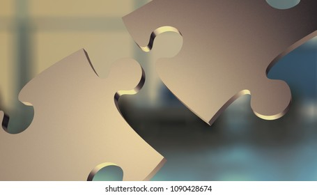two jigsaw pieces connecting together, office interior on background, concept of solution or team work (3d render)