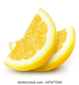 Two juicy yellow lemon slices isolated on white background