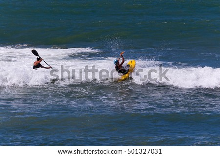 Two Kayakers Surfing White Waves Mediterranean Stock Photo