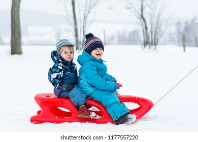 Two kid boys having fun sleigh ride during snowfall. Children sledding on snow. siblings riding a sledge. Twins play outdoors. Cute little toddlers sled on winter day. Active fun for family vacation