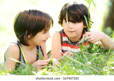 Two kids in beautiful nature