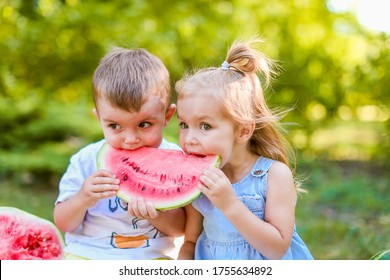 Two kids eating one slice of watermelon in the garden. Kids eat fruit outdoors. Healthy snack for children. 2 years old girl and boy enjoying watermelon.