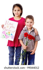 Two kids with greetings for mum, isolated on white