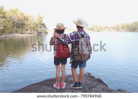 Two Kids Hiking Backpacks Walking Studying Stock Photo Edit Now