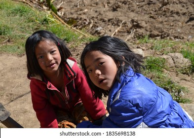 Two kids lpoking to play in pelling, sikkim,Date-01,01,2010.