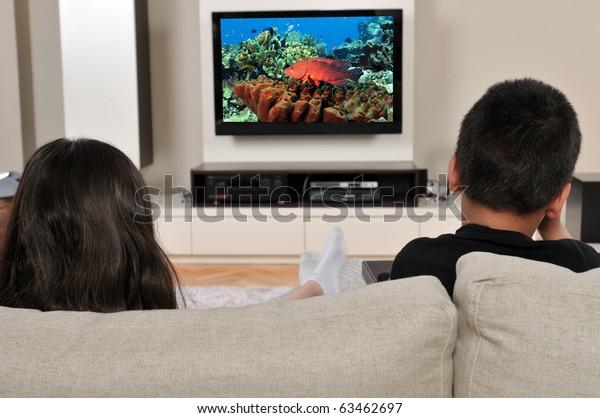 Dos niños en el sofá viendo la TV, pasando un buen rato - una serie de VER imágenes de TV.