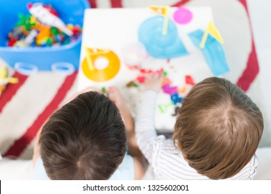 Two kids playing at home