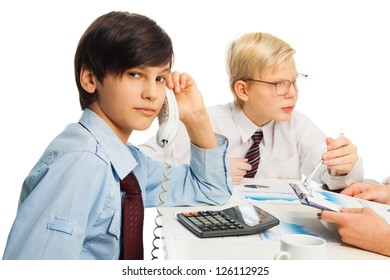 Two kids pretending to be adult sitting in office and doing job chores