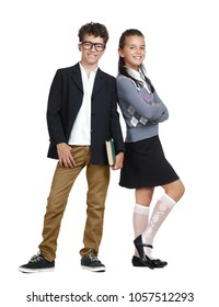 Two kids wearing formal clothes full length picture