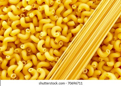 Two kinds of macaroni. Long and thin with braided tubes
