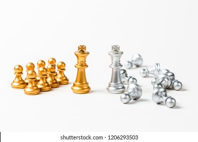 Two King chess in gold and silver color with different good and bad pawn on white background, success and fail influence leader concept