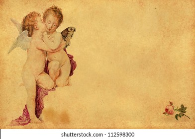 two kissing angels nostalgic greeting card