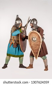 Two knights competing in a tournament. image on white background.