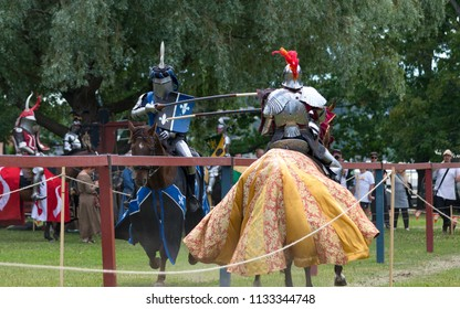 Two knight's confront on jousting tournament