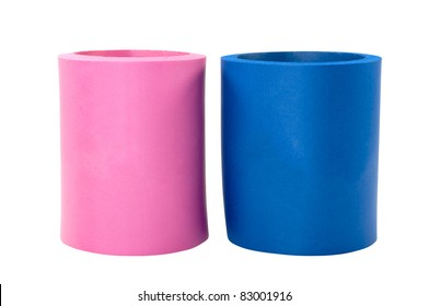 Two koozie drink holders isolated on white background with clipping path.