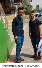 Two Kurdish men on the street in Sulaymaniyah, Iraqi-Kurdistan July 14th 2018