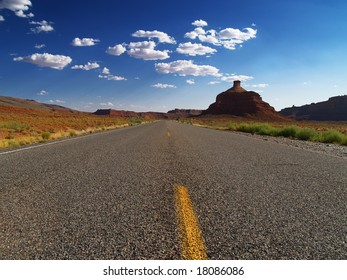 Two lane road in Utah