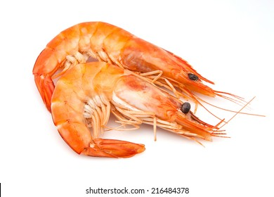 two langoustines on white background