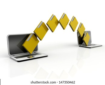 Two laptop computers with file, folder or documents transferring between each other