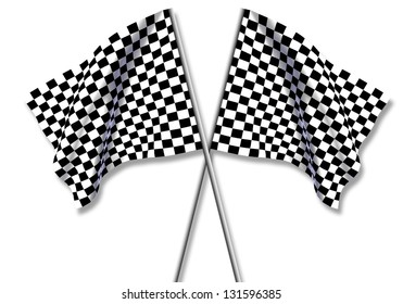 Two large Checkered Flag isolated on white