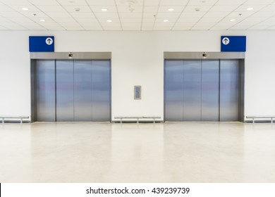 Two large freight elevators in modern building. Can be office, school, hospital, Shopping plaza, mega store or factory