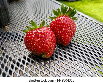 Two large fresh strawberries on a metal table