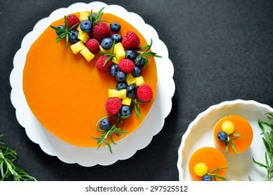 Two layered Mango cheesecake