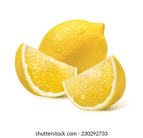Two lemon quarter slices vertical isolated on white background as package design element