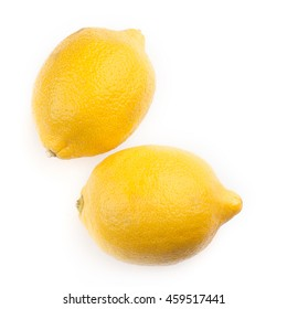 Two lemons Isolated on white background top view