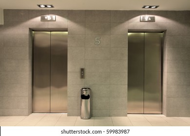 Two lifts in a hotel hall