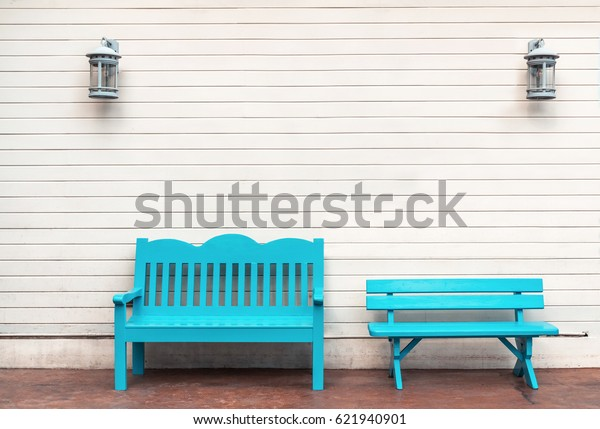 Marvelous Two Light Blue Wooden Bench Wooden Stock Photo Edit Now Onthecornerstone Fun Painted Chair Ideas Images Onthecornerstoneorg