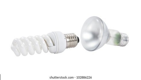 Two light bulbs isolated