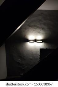 Two lights dark stairwell - Full view
