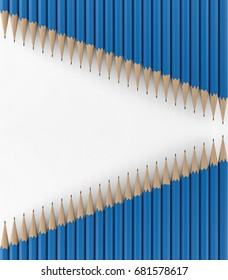 Two lines of blue penciles. 3d rendering