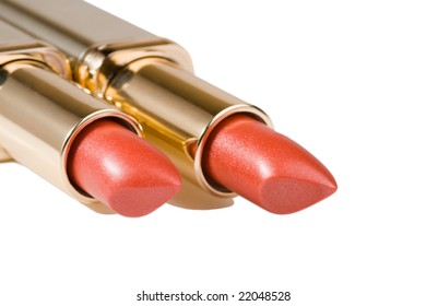 Two lipsticks luxury isolated on a white background.