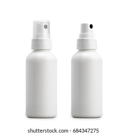 Two little Blank antiseptic sprayer isolated on white. Clipping Path
