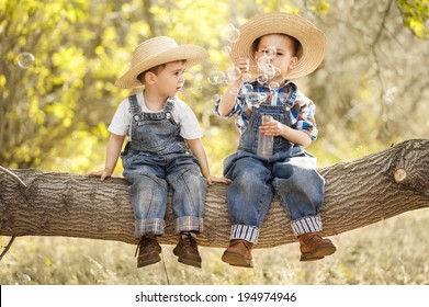 Two little boys blowing bubbles mylnyie on a tree branch on a sunny day
