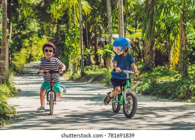 Two little boys children having fun on Balance Bike on a country tropical road.